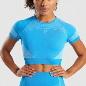 Gymshark Ultra Seamless Crop Top- Blue